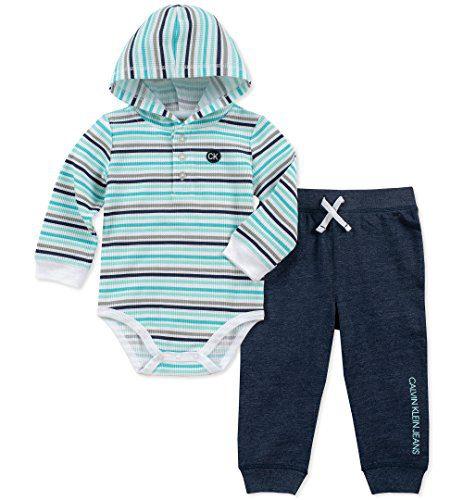 Calvin Klein Baby Boys 2 Pieces Bodysuit Pant Set