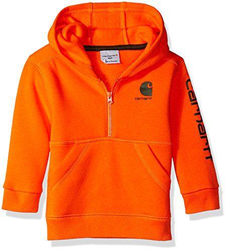 Carhartt Baby Boys Long Sleeve Sweatshirt, Dark Orange 3M