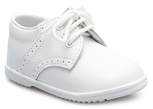 OLIVIA KOO Baby Boys Infant to Toddler Oxford Christening Shoes White