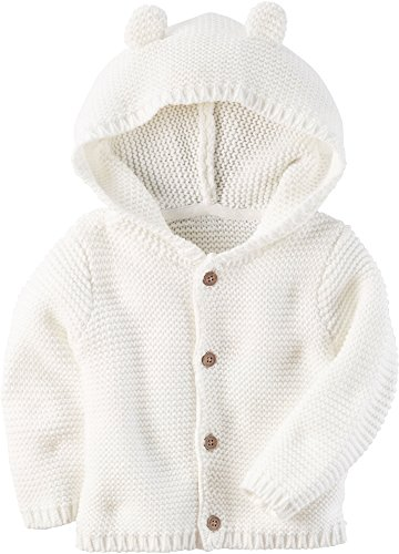 Carter's Baby Textured Bear Hoodie Ivory 9 Months