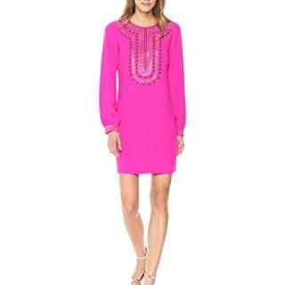 Trina Turk Women's Kapono Long Sleeve Embellished Classic Crepe Dress