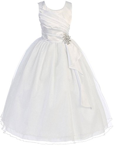 First Communion Flower Girls Dress Satin Surplice Top Double Layer Big Girl