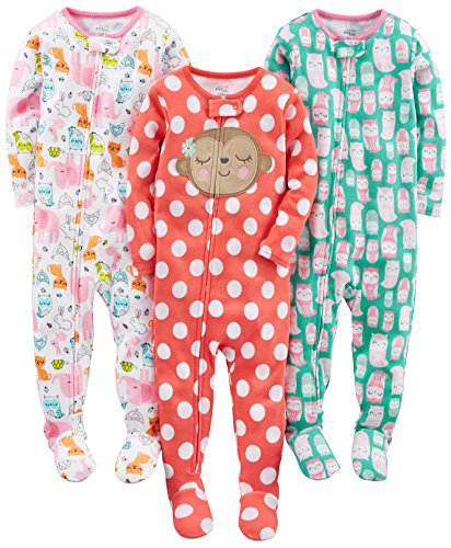 Simple Joys by Carter's Baby Girls 3-Pack Snug Fit Footed Cotton Pajamas