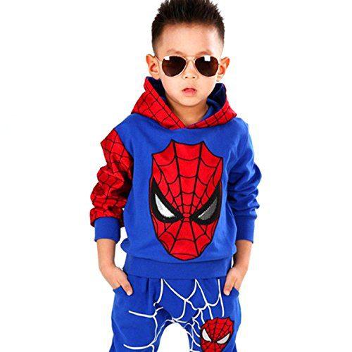 Hoodie and Pants Superhero Set (0-1 Years, Blue Spiderman)