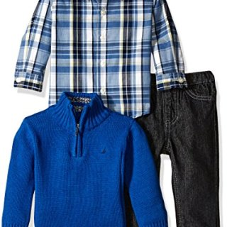 Nautica Baby Three Piece Set with Woven, Quarter Zip Sweater