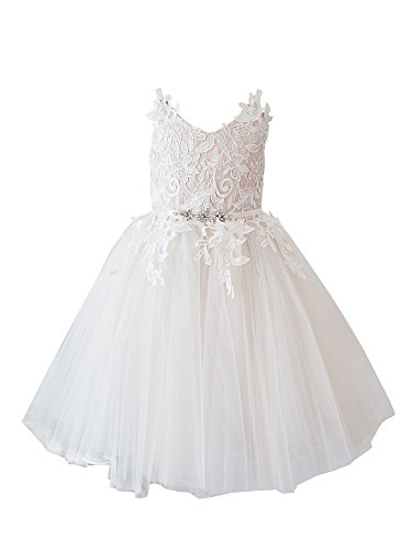 Miama Ivory Lace Tulle Straps Wedding Flower Girl Dress