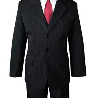 Spring Notion Big Boys' Pinstripe Suit Set Black-Red Tie