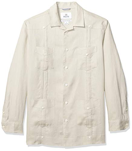 28 Palms Men's Relaxed-Fit Long-Sleeve 100% Linen Pleated Guayabera Shirt