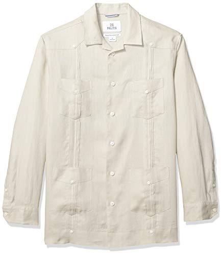 28 Palms Men's Relaxed-Fit Long-Sleeve 100% Linen Pleated Guayabera Shirt