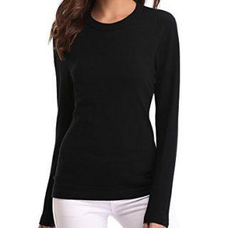 Abollria Women's Long Sleeve Soft Round Neck Slim Fit