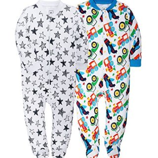 Jimonda Baby Boy's Footies 2 Pack 100% Cotton Infant Bodysuit
