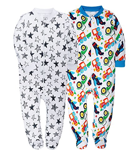 Jimonda Baby Boy's Footies 2 Pack 100% Cotton Infant Bodysuit