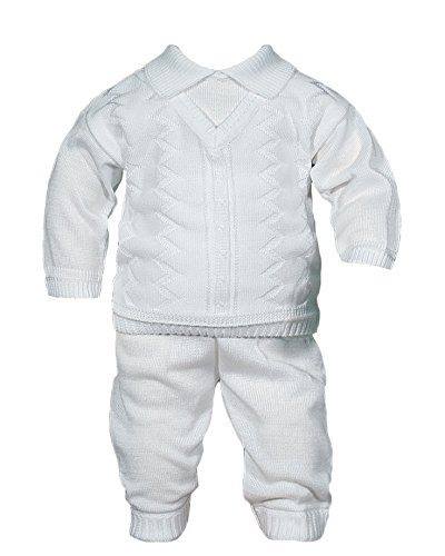 Boys 100%Cotton Knit Two Piece White Christening Baptism Outfit