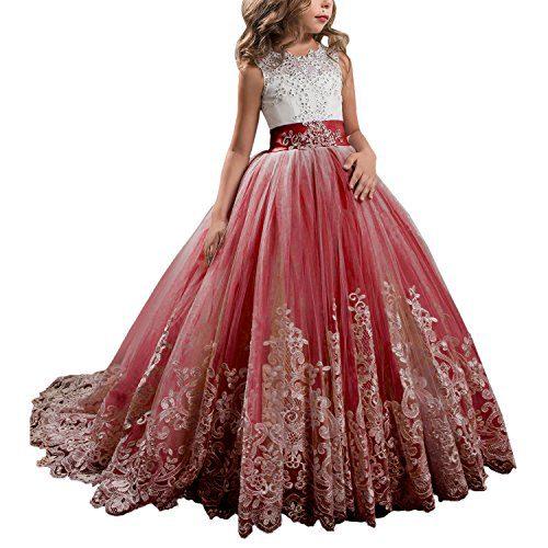 Princess Burgundy Long Girls Pageant Dresses Kids