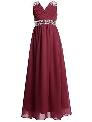 FAIRY COUPLE Girl's Embellished V-Neck Long Flower Girl Dress
