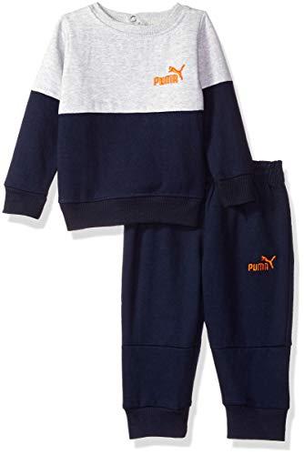 PUMA Baby Boys' Pullover Fleece Set, Light Heather Grey, 24M