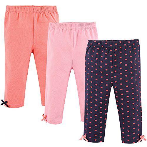 Hudson Baby Baby Girls' Cotton Leggings, 3 Pack