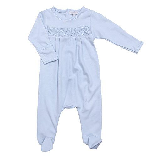 Magnolia Baby Baby Boy MB Essentials Smocked Footie Solid Blue