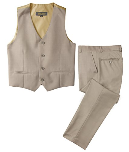 Spring Notion Big Boys' Two Button Suit Tan-B 2T Vest and Pants