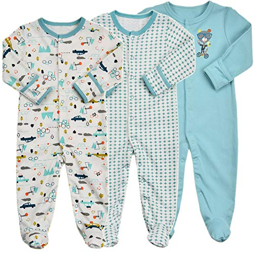 Baby Footed Pajamas with Mittens - 3 Packs Girls Boys Baby