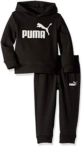 PUMA Boys' Toddler Fleece Hoodie Set, Black, 3T