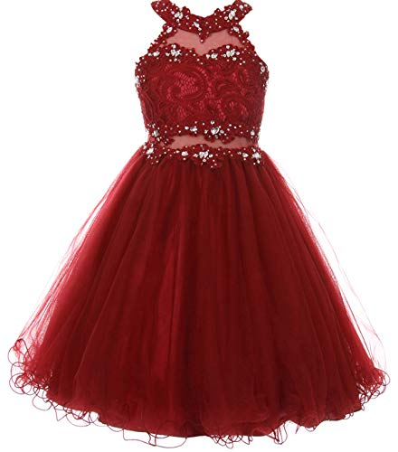 Big Girls' Sparkle Rhinestones Halter Lace Junior Bridesmaid Pageant Flower