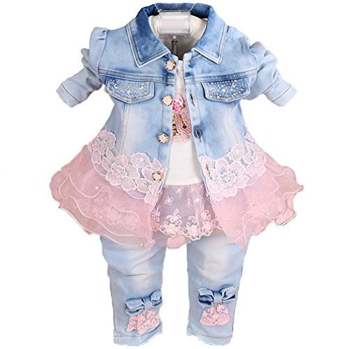 YAO Baby Girls Denim Clothing Sets 3 Pieces