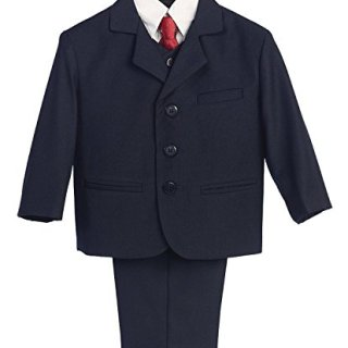 5 Piece Navy Blue Suit with Shirt, Vest, and Tie