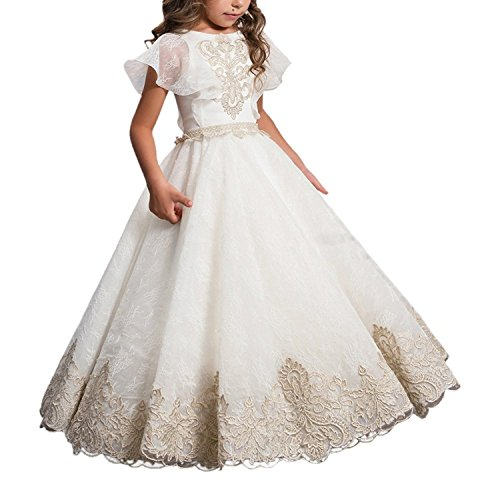 ABaowedding Flower Girls Lace Applique Ball Gowns First Communion