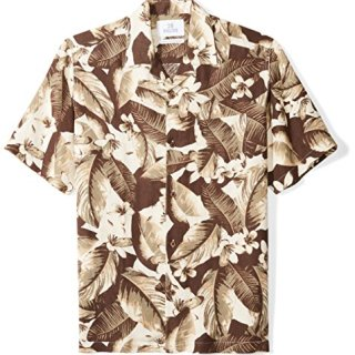 Palms Men's Relaxed-Fit Silk/Linen Tropical Hawaiian Shirt