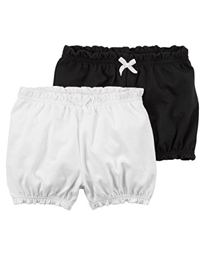 Carter's Baby Girls' 2-Pk. Crinkle Shorts,Black/White, Newborn