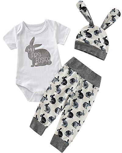 Shalofer Baby Boys Infant My First Easter Bunny Print Bodysuit