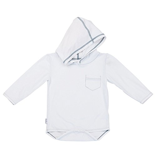 UV SKINZ UPF 50+ Baby Boy Hooded Sunzie- White - 6/12m