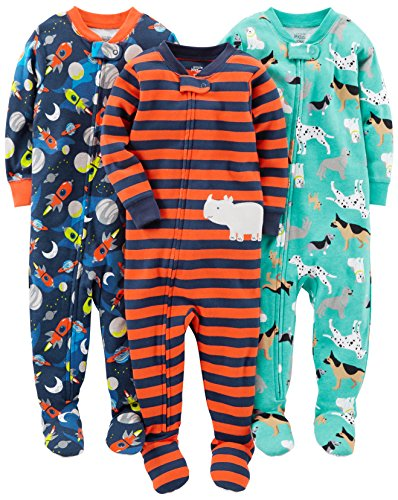 Simple Joys by Carter's Baby Boys' 3-Pack Snug Fit Footed Cotton Pajamas