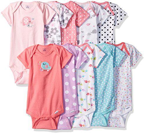 Gerber Baby Girls' 10-Pack Short-Sleeve Onesies Bodysuit