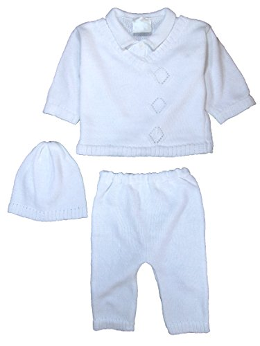 Cotton Knit Baby Boys 3 Piece Collared V-Neck Sweater Set