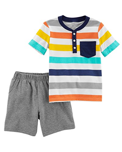 Carter's Boys' Newborn-5T 2 Piece Short Sleeve Striped Jersey Top