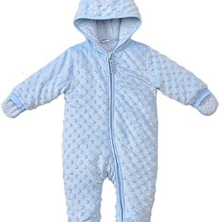 LJ Baby-Boys Hoodie Fleece Pram Snowsuit Blue For 6 Month