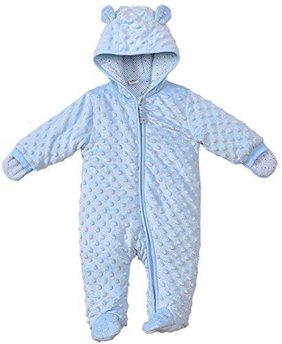 LJ Baby-Boys Hoodie Fleece Pram Snowsuit Blue For 6 Month