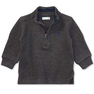 RALPH LAUREN Baby Boys Half Zip French Rib Sweater