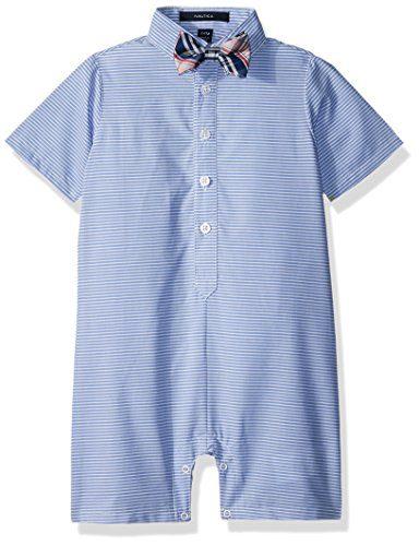 Nautica Baby Boys Fashion Button Up Shortall with Bowtie