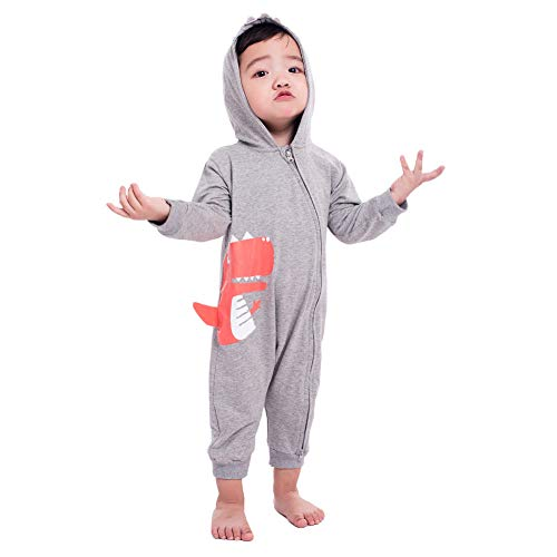 Teeker Unisex Hoodie Romper Jumpsuit Cotton Onesies Long Sleeve