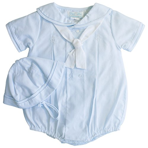 Romper with Anchor Detail Stitching in Blue Newborn