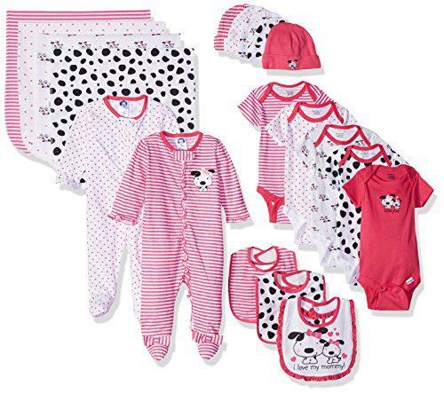 Gerber Baby Girls' 19 Piece Baby Essentials Gift Set