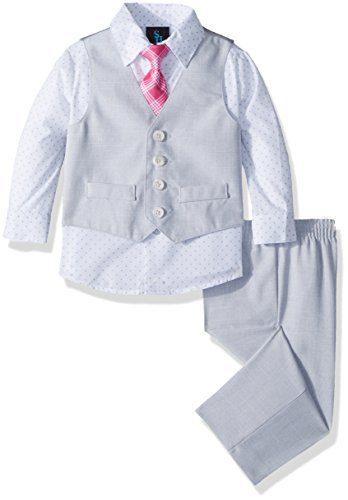 Steve Harvey Baby Boys Four Piece Vest Set, Sterling slub 18 Months