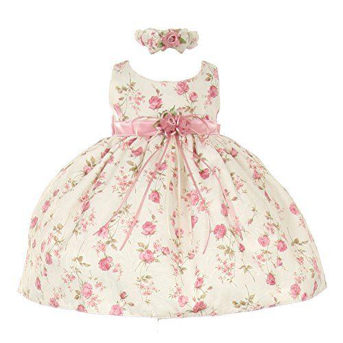 Cinderella Couture Baby Girls Pink Rose Printed Jacquard