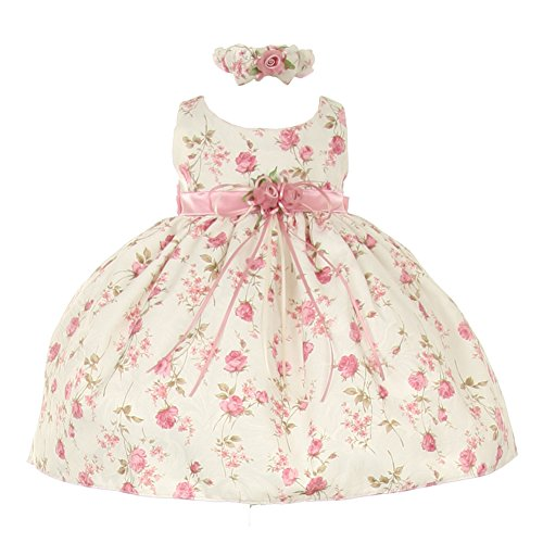 Cinderella Couture Baby Girls Pink Rose Printed Jacquard