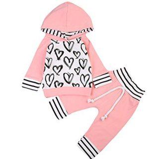MA&BABY Newborn Baby Girls Hand-Painting Heart Tops Hoodies Pants