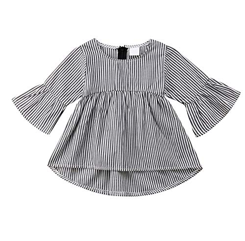 Baby Girl Stripe Top Blouse Autumn Ruffle Sleeve Shirt Casual Clothes