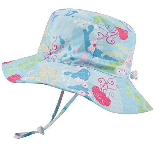 Baby Girls Sun Hat Adjustable - Outdoor Toddler Swim Beach